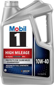 Mobil 1 High Mileage Full Synthetic Motor Oil 10W-40